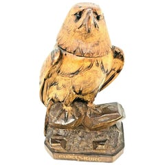 Wood Black Forest Brienz Carved Eagle Inkwell German Antique, 1900s