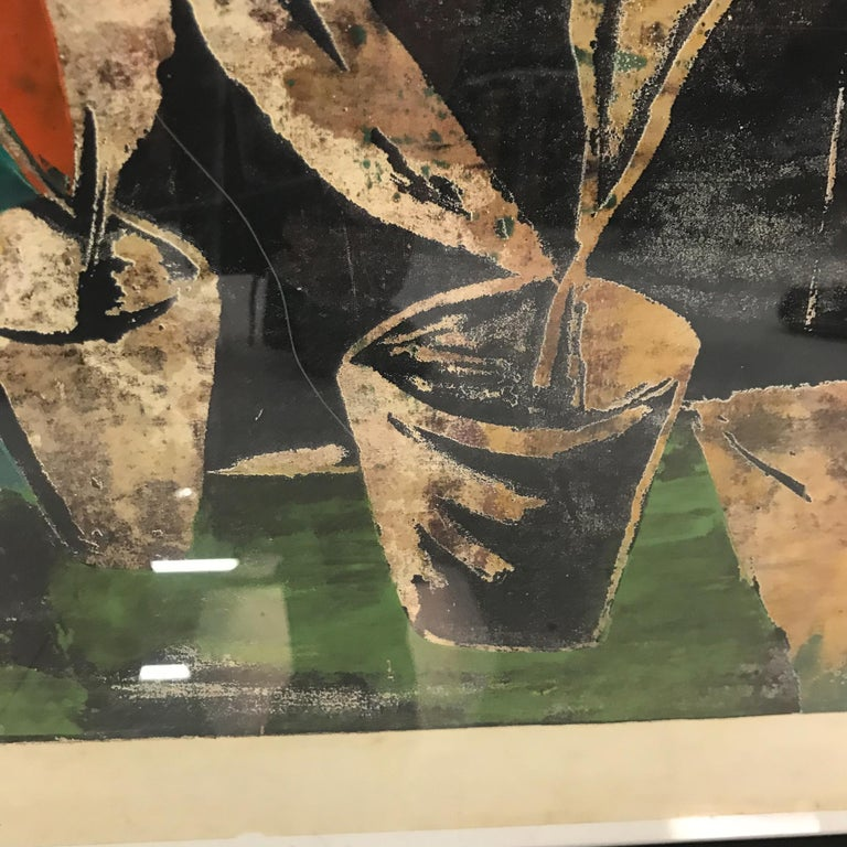 Wood Block Lithograph Still Life Abstract Wall Art In Good Condition For Sale In National City, CA