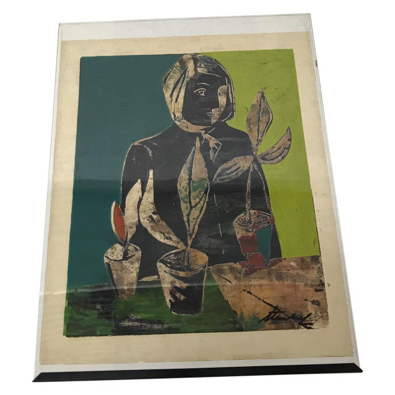 Wood Block Lithograph Still Life Abstract Wall Art For Sale