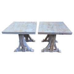 Wood Bone-Colored Pair of Cocktail Tables or Combined Coffee Table