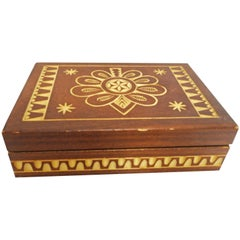Wood Box Hand Carved Vintage