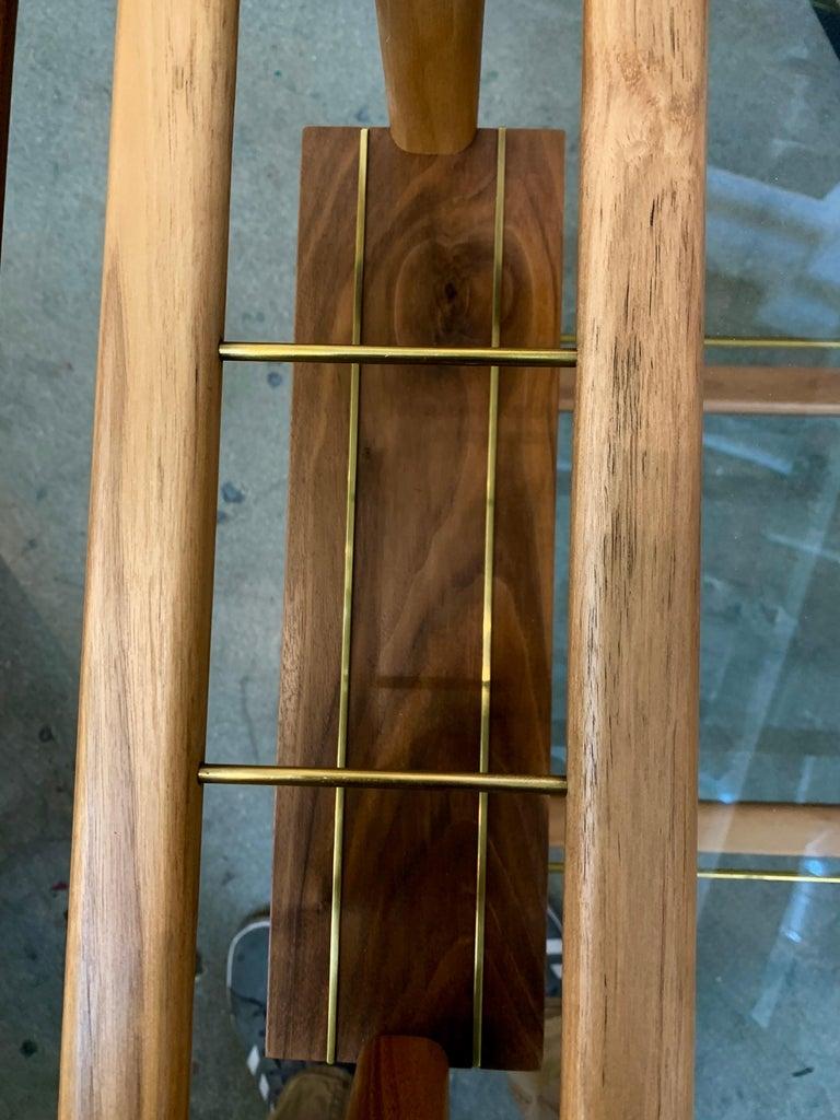 Wood Brass Bar Cart For Sale 2