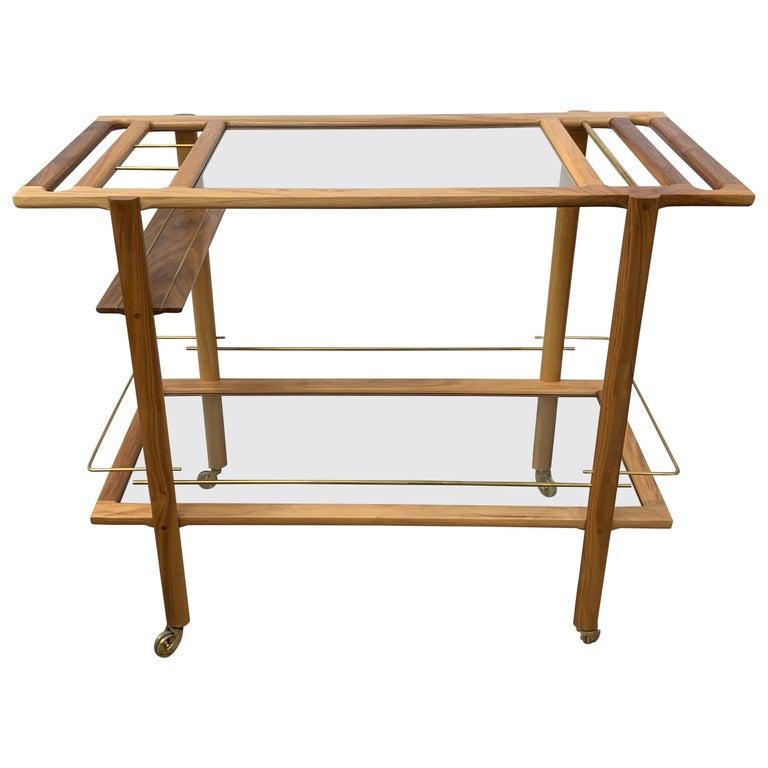Wood Brass Bar Cart For Sale