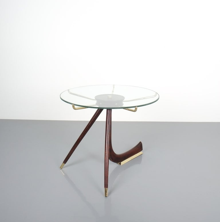 Wood Brass Coffee or Side Table, Italy, 1955 For Sale 5