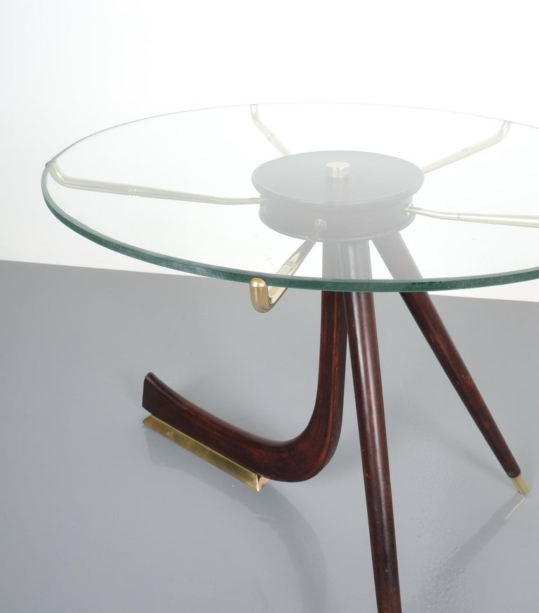 Wood Brass Coffee or Side Table, Italy, 1955 For Sale 6
