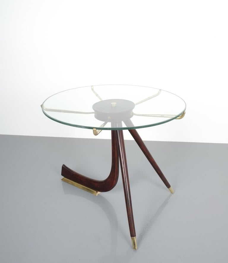 Wood Brass Coffee or Side Table, Italy, 1955 For Sale 7