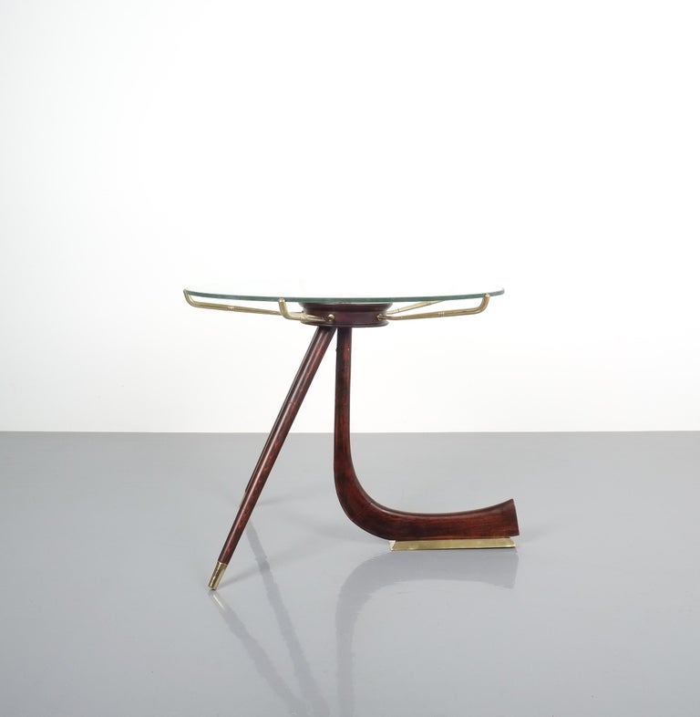 Mid-Century Modern Wood Brass Coffee or Side Table, Italy, 1955 For Sale
