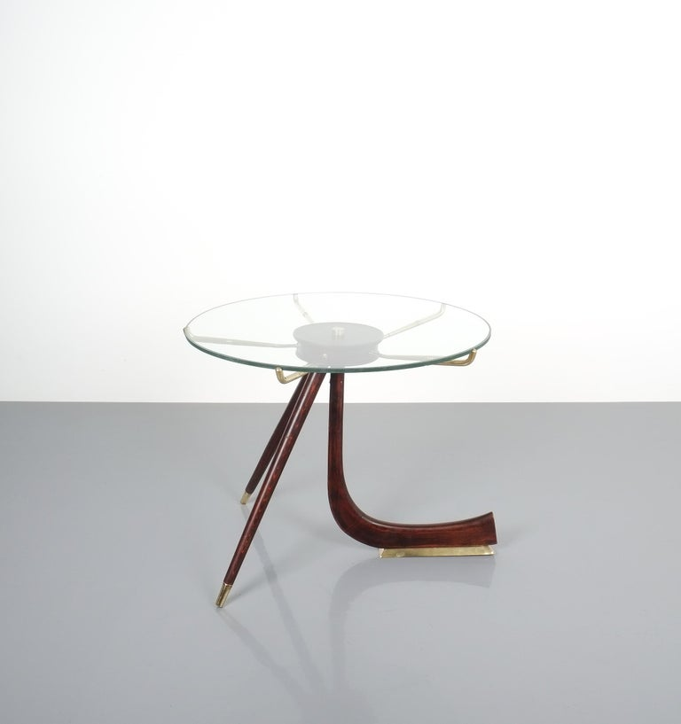 Italian Wood Brass Coffee or Side Table, Italy, 1955 For Sale