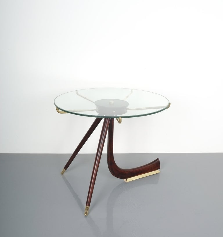 Mid-20th Century Wood Brass Coffee or Side Table, Italy, 1955 For Sale