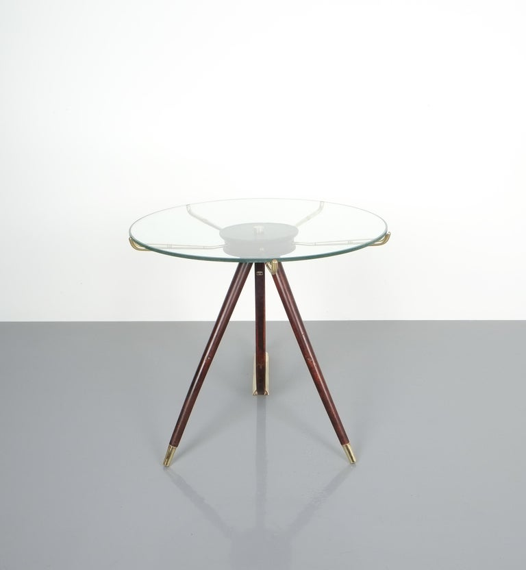 Wood Brass Coffee or Side Table, Italy, 1955 For Sale 3
