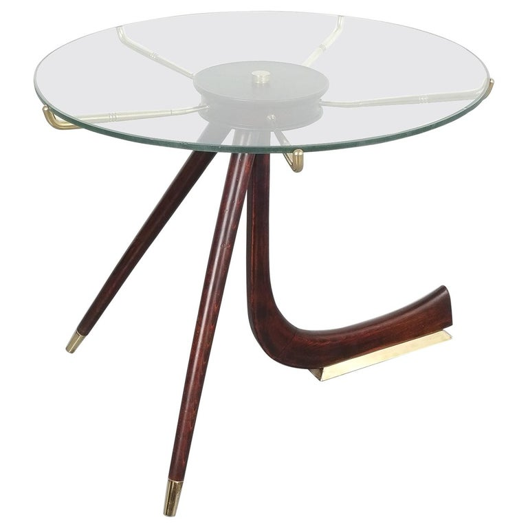 Wood Brass Coffee or Side Table, Italy, 1955 For Sale