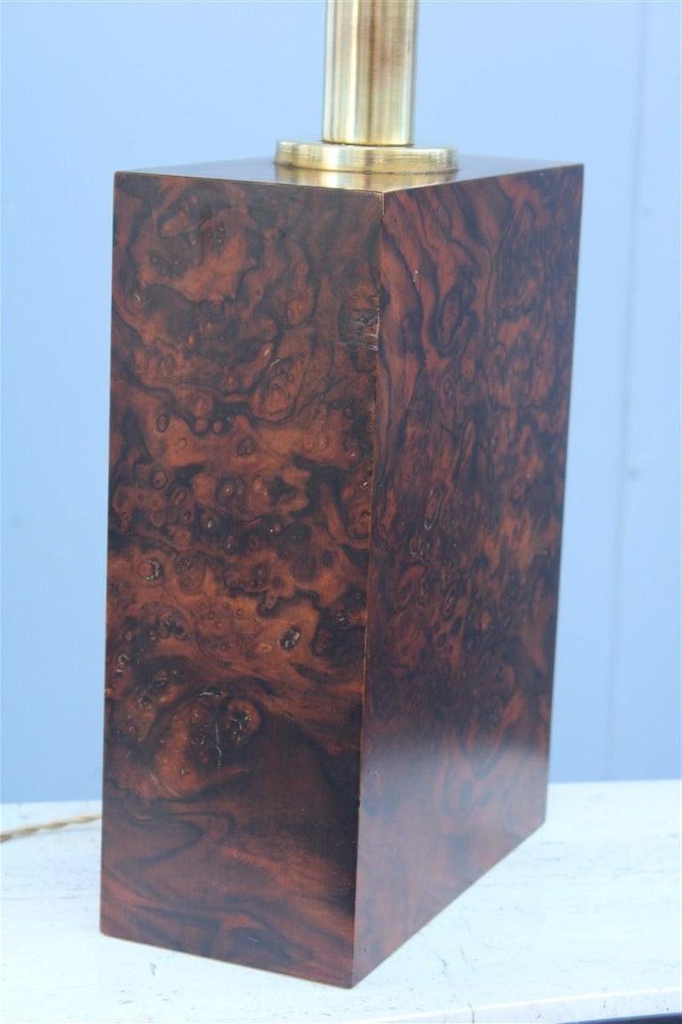 Wood briar table lamp brass gold Italian design, 1970s. Measures: Only base H cm 33, W cm 24, D cm 12, 1 light bulb E27 max 100 Watt.