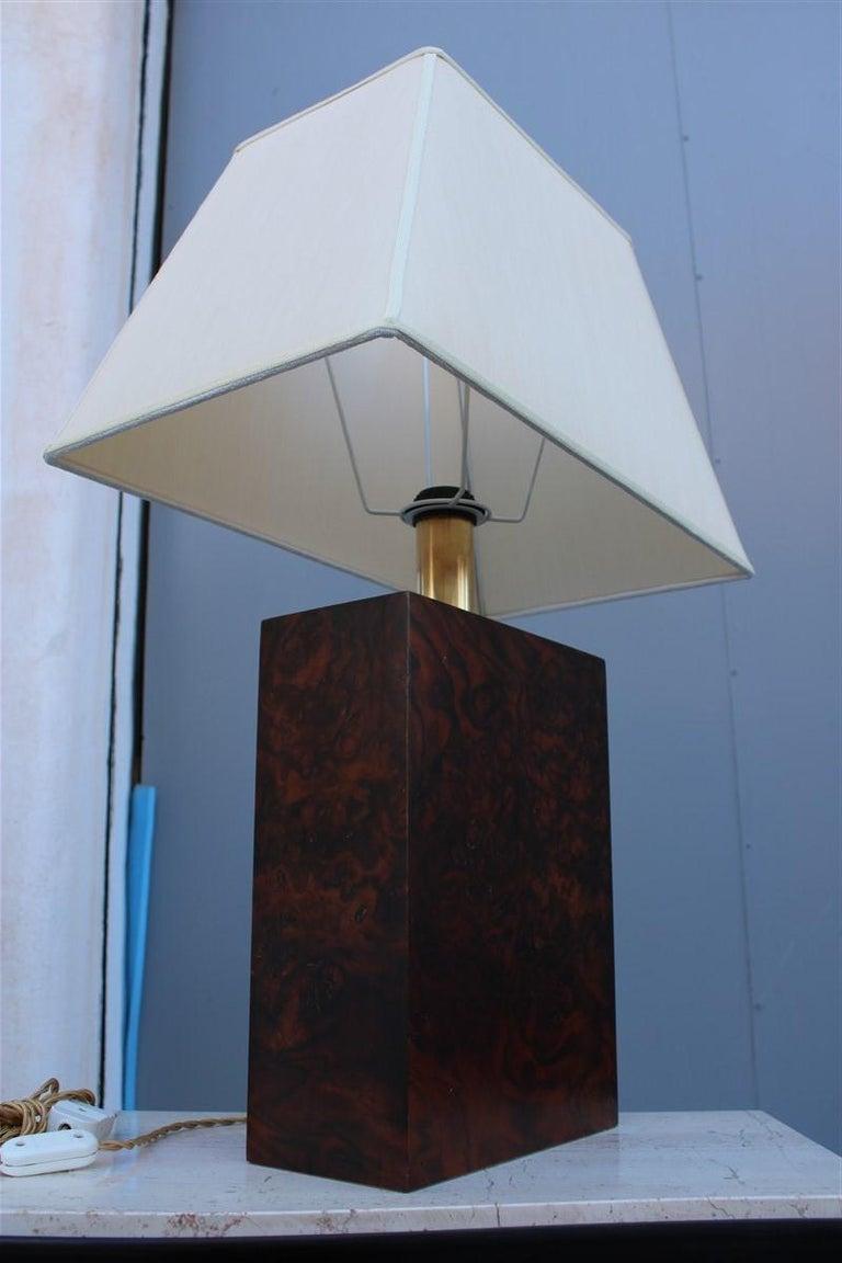 Mid-Century Modern Wood Briar Table Lamp Brass Gold Italian Design, 1970s For Sale