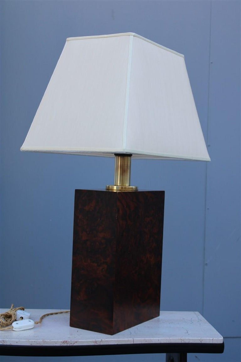 Wood Briar Table Lamp Brass Gold Italian Design, 1970s In Good Condition For Sale In Palermo, Sicily