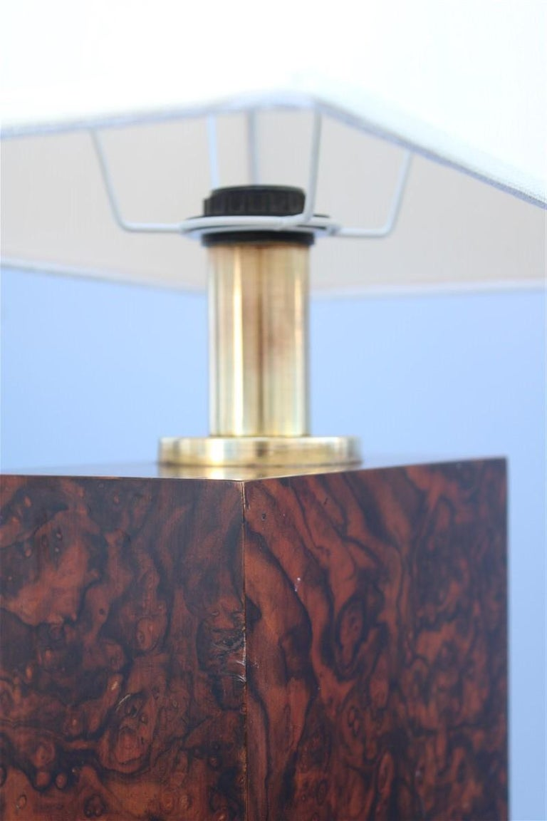 Late 20th Century Wood Briar Table Lamp Brass Gold Italian Design, 1970s For Sale
