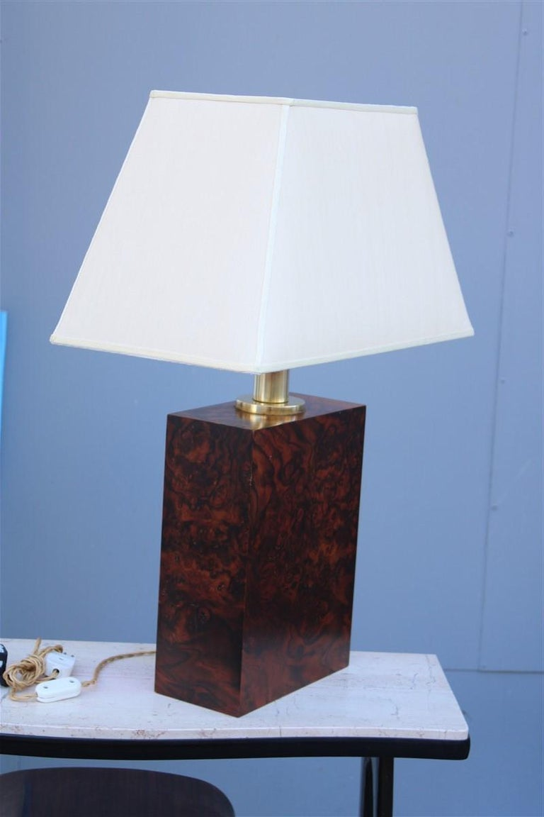Wood Briar Table Lamp Brass Gold Italian Design, 1970s For Sale 1