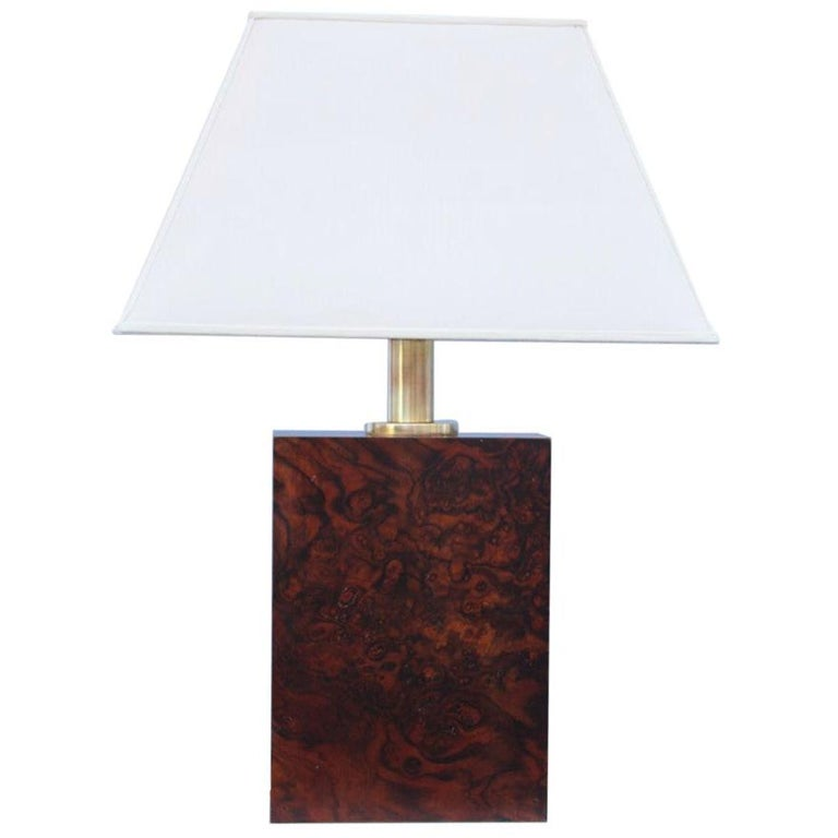 Wood Briar Table Lamp Brass Gold Italian Design, 1970s For Sale