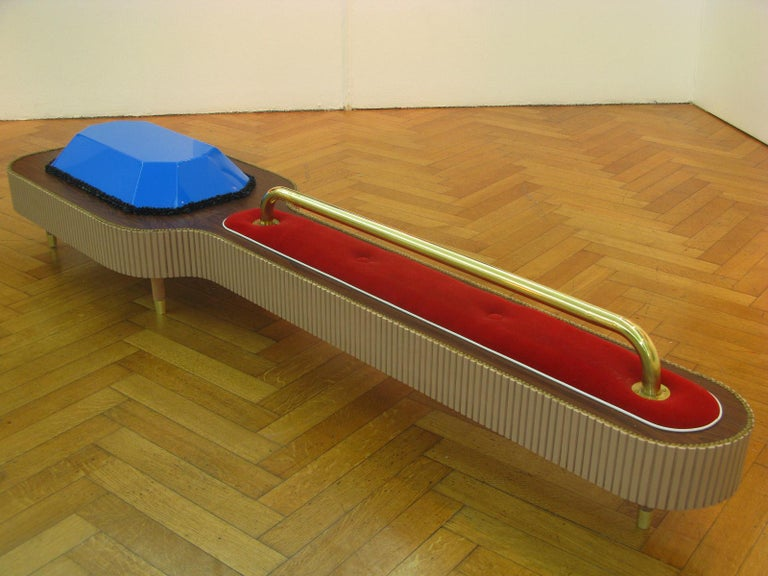 Contemporary Wood, Bronze, Velvet and Acrylic Sculpture by Daniel Basso, 2011 For Sale