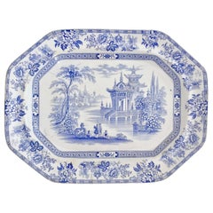 Wood & Brownfield Pottery Platter, Blue & White Transfer, Madras, Victorian 1845