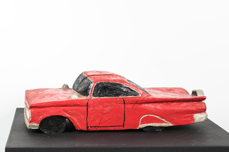 Hand carved Folk Art American Muscle car. Wood carved with original paint surface.