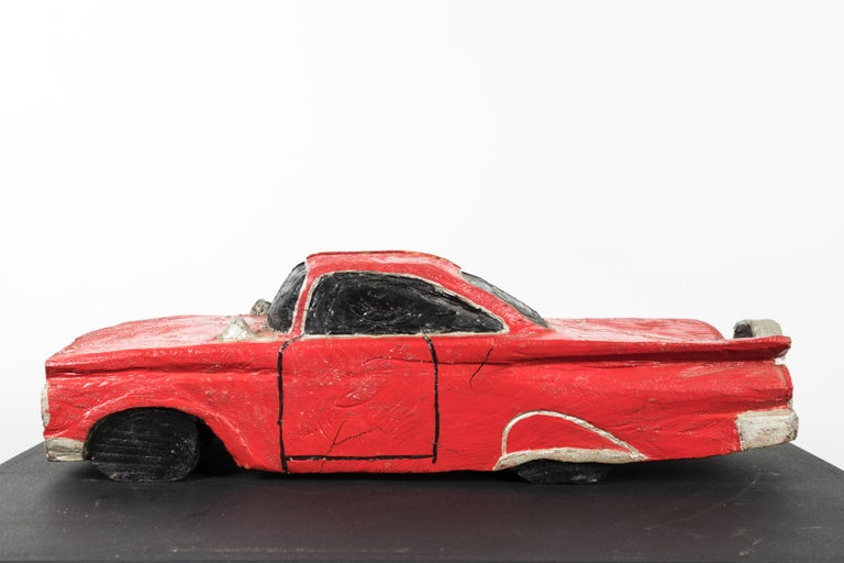Hand-Carved Wood Carved American Folk Art Muscle Car For Sale