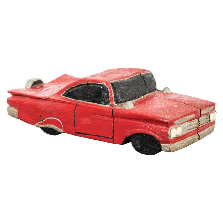 Wood Carved American Folk Art Muscle Car For Sale