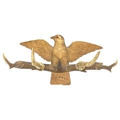 Wood Carved Eagle Brienz German Black Forest Hat Coat Rack with Deer Antlers
