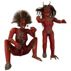 Wood Carved Folk Art Devil Figures from Mexico, 1980s