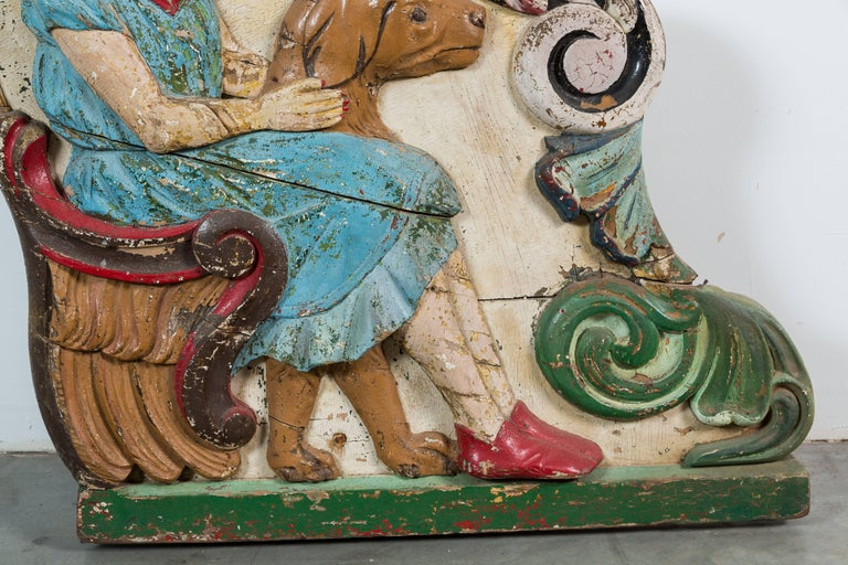 Hand-Painted Wood Carved Folk Art Girl and Dog Carousel Chariot Original Paint Surface For Sale