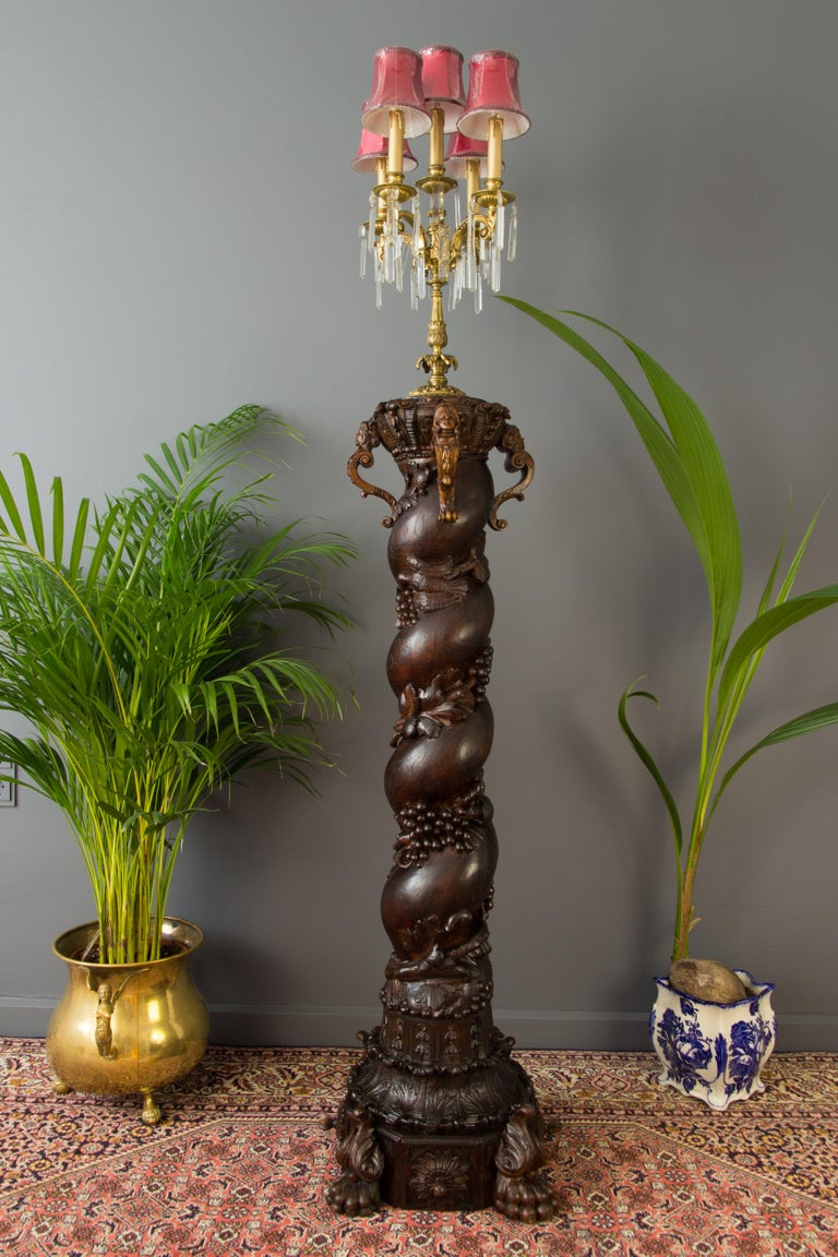 Wood Carved French Baroque Solomonic Column For Sale 6