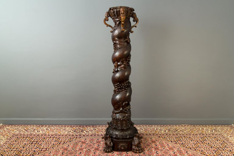 Wood Carved French Baroque Solomonic Column For Sale 8