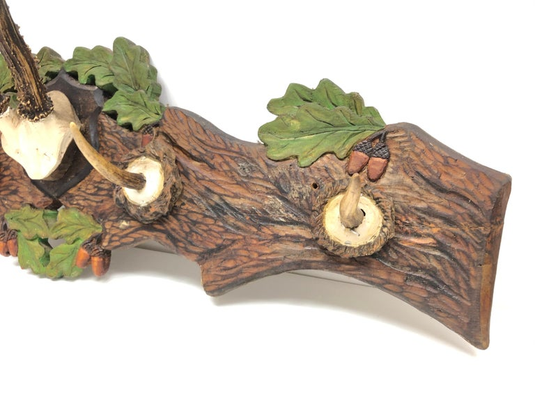 Mid-20th Century Wood Carved German Black Forest Hat Coat Rack with Deer Antlers, 1930s For Sale