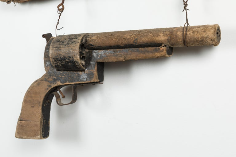 Hand-Carved Wood Carved Gun American Trade Sign For Sale