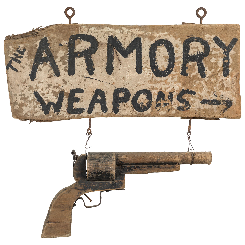 Wood Carved Gun American Trade Sign