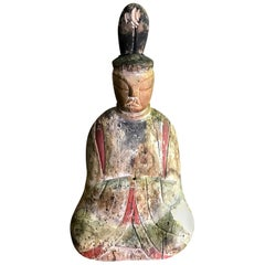 Wood Carved Polychrome Japanese Temple Shrine Shinto Priest Figure, 19th Century