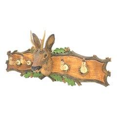 Wood Carved Roe Deer 20th Century German Black Forest Hat Coat Rack, 1930s