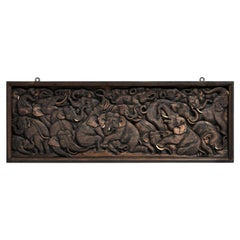 Wood Carving of Elephant Herd