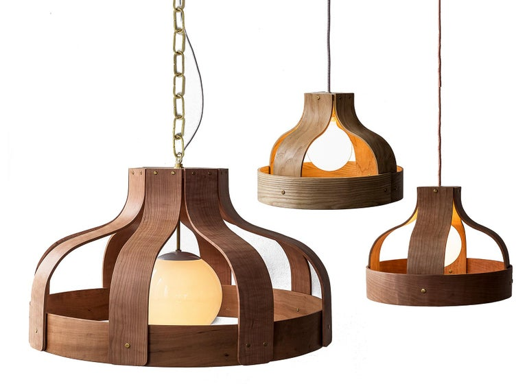 American Wood Chandelier, Large and Circular, Bound by Carnevale Studio, Cherry For Sale