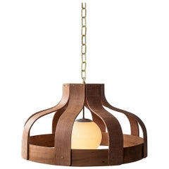 Wood Chandelier, Large and Circular, Bound by Carnevale Studio, Cherry
