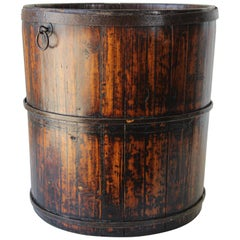 Asian Chinese Export Wood Bucket with Wrought Iron Bands