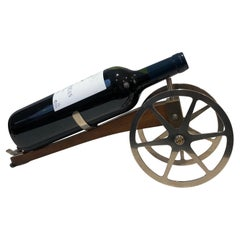Wood, Chrome and Brass Cannon Bottle Holder, French, Marked H Hauger Paris, Circ