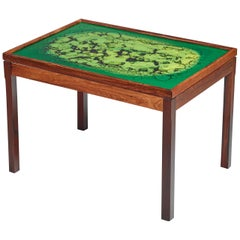 Wood Coffee Table with Colored Glass Top, Sweden