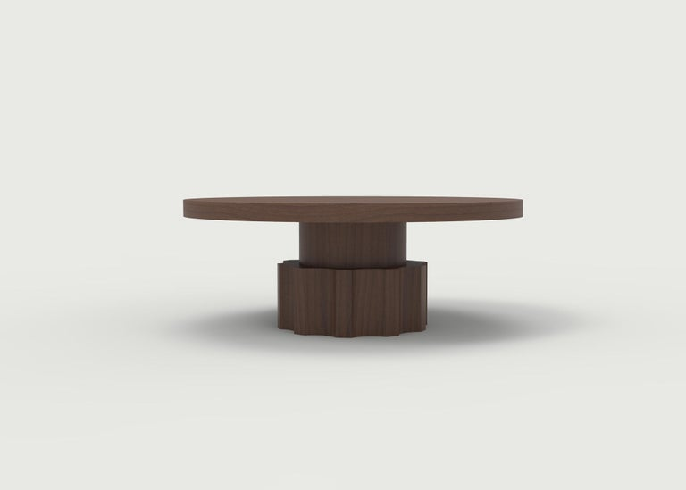 American Classical Wood Coffee Table with Hand Carved Nut and Bolt Base in Choice of Wood/Finish For Sale