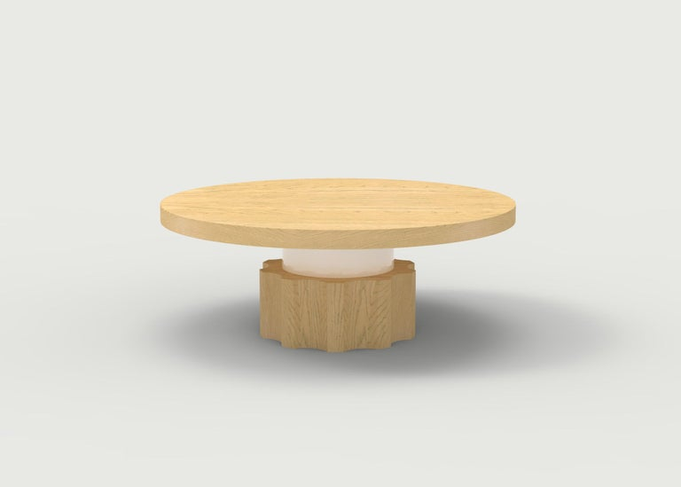 American Wood Coffee Table with Hand Carved Nut and Bolt Base in Choice of Wood/Finish For Sale