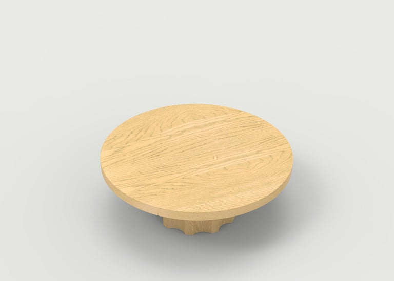 Hand-Carved Wood Coffee Table with Hand Carved Nut and Bolt Base in Choice of Wood/Finish For Sale
