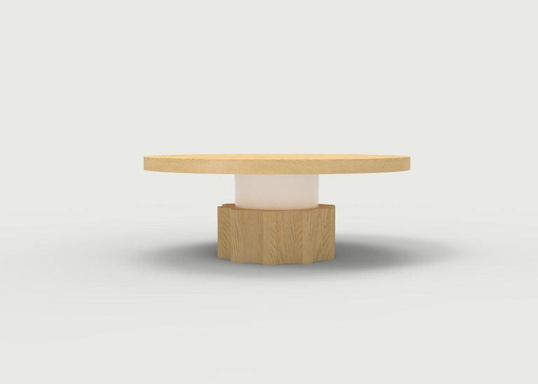 Wood Coffee Table with Hand Carved Nut and Bolt Base in Choice of Wood/Finish In New Condition For Sale In Brooklyn, NY