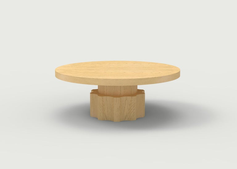 Contemporary Wood Coffee Table with Hand Carved Nut and Bolt Base in Choice of Wood/Finish For Sale