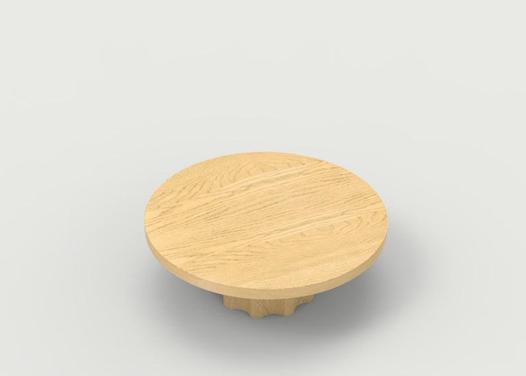 Walnut Wood Coffee Table with Hand Carved Nut and Bolt Base in Choice of Wood/Finish For Sale