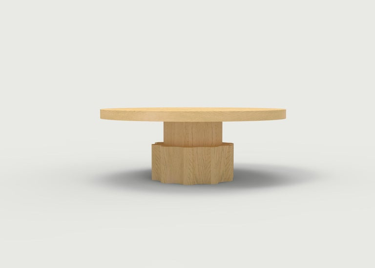 Wood Coffee Table with Hand Carved Nut and Bolt Base in Choice of Wood/Finish For Sale 1
