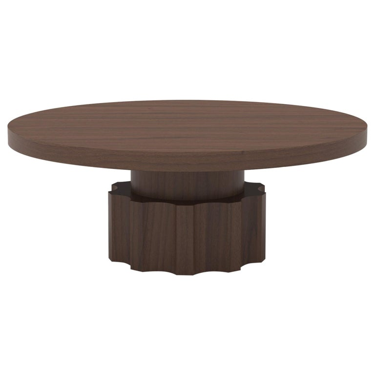 Wood Coffee Table with Hand Carved Nut and Bolt Base in Choice of Wood/Finish For Sale